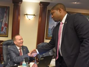Rep. Massullo shaking hands with Rep. Donalds