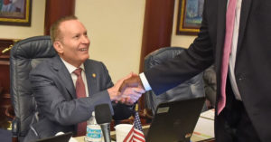 Rep. Massullo shaking hands with Rep. Donalds